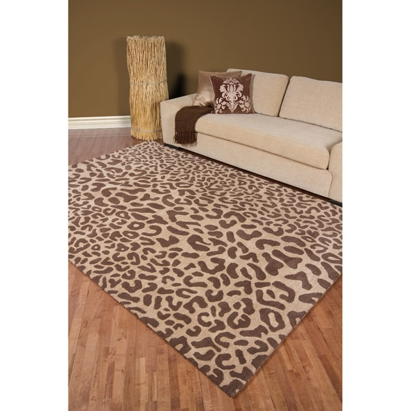 Hand Tufted Brown Leopard Whimsy Animal Print Wool Area