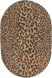 Hand-tufted Brown Leopard Whimsy Animal Print Wool Rug (8' x 10' Oval)