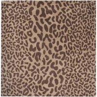 Hand-tufted Tan Leopard Whimsy Animal Print Wool Area Rug (8' Square)
