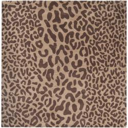 Hand-tufted Brown Leopard Whimsy Animal Print Wool Rug (9'9 Square) - Thumbnail 1