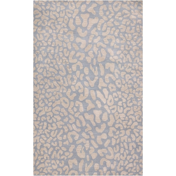 Hand-tufted Pale Blue Leopard Whimsy Animal Print Wool Area Rug - 10' x 14'