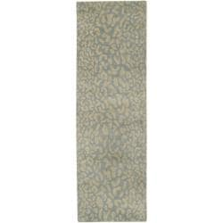 Hand-tufted Pale Blue Leopard Whimsy Animal Print Wool Rug (2'6 x 8') - Thumbnail 1