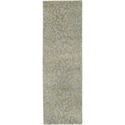 Hand-tufted Pale Blue Leopard Whimsy Animal Print Wool Area Rug (3' x 12')