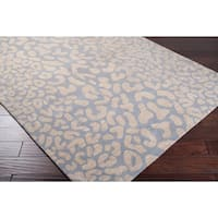 Hand-tufted Pale Blue Leopard Whimsy Animal Print Wool Area Rug - 3' x 12'