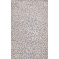 Hand-tufted Pale Blue Leopard Whimsy Animal Print Wool Area Rug - 6' x 9'