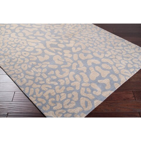 Hand-tufted Pale Blue Leopard Whimsy Animal Print Wool Area Rug - 8' x 10' Oval/Surplus