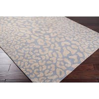Hand-tufted Pale Blue Leopard Whimsy Animal Print Wool Area Rug - 8' x 10' Oval