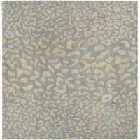 Hand-tufted Pale Blue Leopard Whimsy Animal Print Wool Area Rug (8' Square)