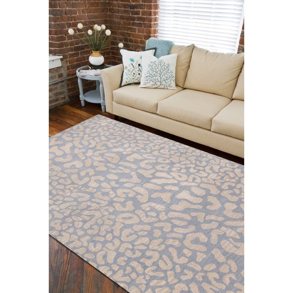 Hand-tufted Pale Blue Leopard Whimsy Animal Print Wool Area Rug - 9' x 12'
