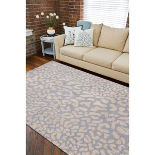 Hand-tufted Pale Blue Leopard Whimsy Animal Print Wool Rug (9' x 12')
