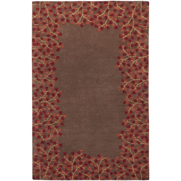 Hand-tufted Whimsy Chocolate Wool Area Rug - 6' x 9'