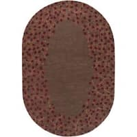 Hand-tufted Whimsy Chocolate Wool Area Rug (8' x 10' Oval)