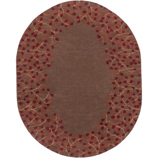 Hand-tufted Whimsy Chocolate Wool Area Rug - 8' x 10' Oval