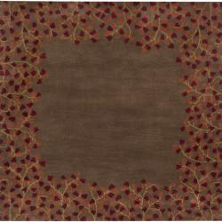 Hand-tufted Whimsy Chocolate Wool Rug (9'9 Square)