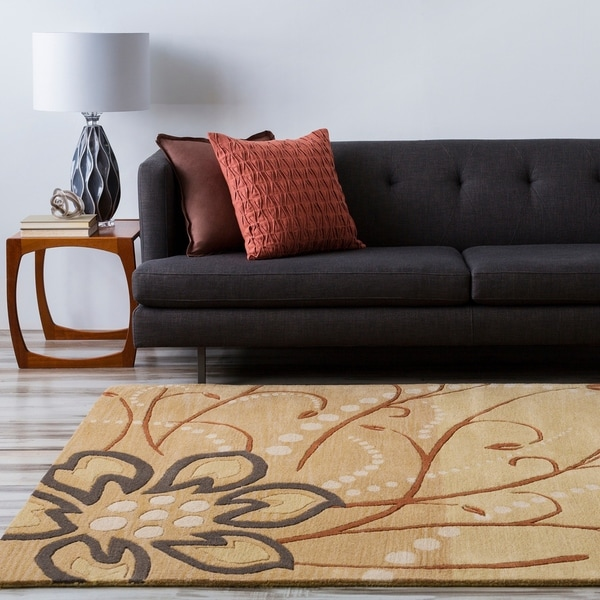 Hand-tufted Whimsy Tan Floral Wool Area Rug - 6' x 9'