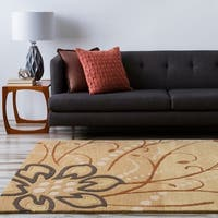 Hand-tufted Whimsy Tan Floral Wool Area Rug (6' x 9')