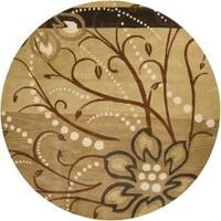 Hand-tufted Whimsy Tan Floral Wool Area Rug (9'9 Round)