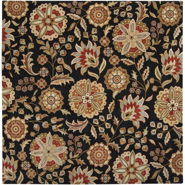 Hand-tufted Whimsy Black Wool Rug (4' Square)
