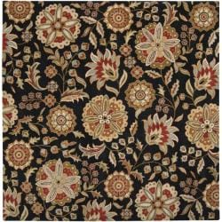 Hand-tufted Whimsy Black Wool Rug (4' Square) - Thumbnail 1