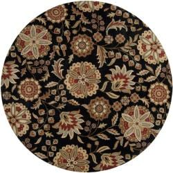 Hand-tufted Whimsy Black Wool Rug (9'9 Round)