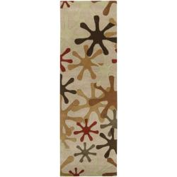 Hand-tufted Whimsy Off Beige Wool Rug (3' x 12') - Thumbnail 2