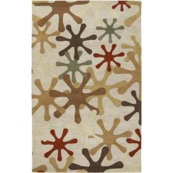 Hand-tufted Whimsy Off Beige Wool Area Rug (6' x 9') - Thumbnail 0