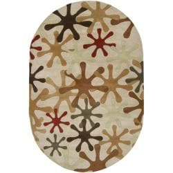 Hand-tufted Whimsy Off Beige Wool Rug (8' x 10' Oval)