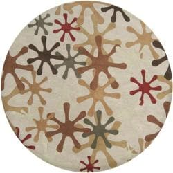 Hand-tufted Whimsy Off Beige Wool Rug (9'9 Round) - Thumbnail 1