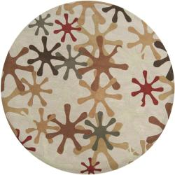 Hand-tufted Whimsy Off Beige Wool Rug (9'9 Round) - Thumbnail 2