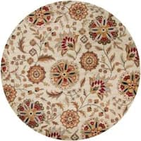 Hand-tufted Whimsy Beige Floral Wool Area Rug (4' Round)