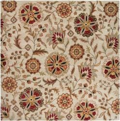 Hand-tufted Whimsy Beige Floral Wool Rug (4' Square) - Thumbnail 1