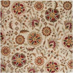 Hand-tufted Whimsy Beige Floral Wool Rug (4' Square) - Thumbnail 2