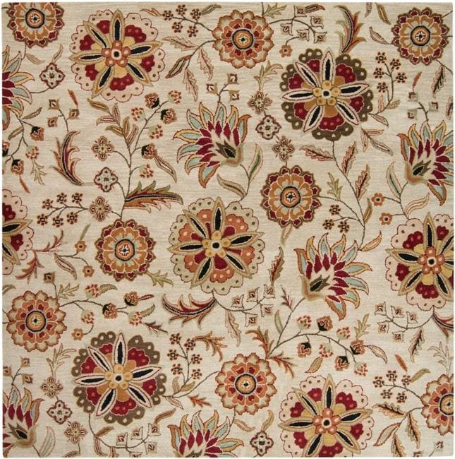 Hand-tufted Whimsy Ivory Floral Wool Rug (8' Square)