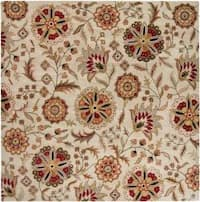 Hand-tufted Whimsy Ivory Floral Wool Area Rug (8' Square)