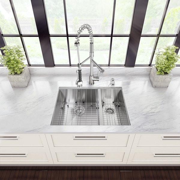 VIGO All-in-One 29-inch Stainless Steel Undermount Kitchen Sink and Zurich Stainless Steel Faucet Set