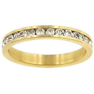 Kate Bissett Brass Clear Stackable Cubic Zirconia Eternity Band