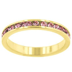 Kate Bissett Goldtone Pink Crystal Eternity Fashion Ring