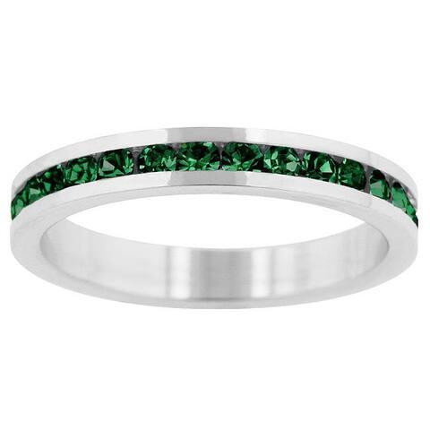 Kate Bissett Brass Green Stackable Cubic Zirconia Eternity Band