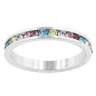 Kate Bissett Silvertone Multi-colored Crystal Eternity Fashion Ring