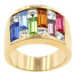 Kate Bissett Brass Multi-colored Cubic Zirconia Cocktail Ring