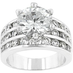 Kate Bissett Silvertone Brass Cubic Zirconia Engagement Ring