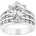 Kate Bissett Silvertone Brass Cubic Zirconia Engagement Ring