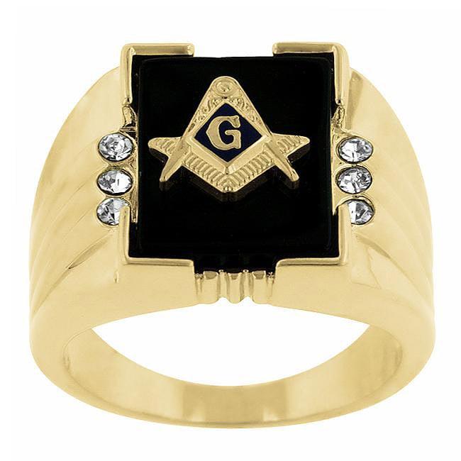 Kate Bissett Goldtone Men's Created Onyx and Crystal Masonic Emblem Ring