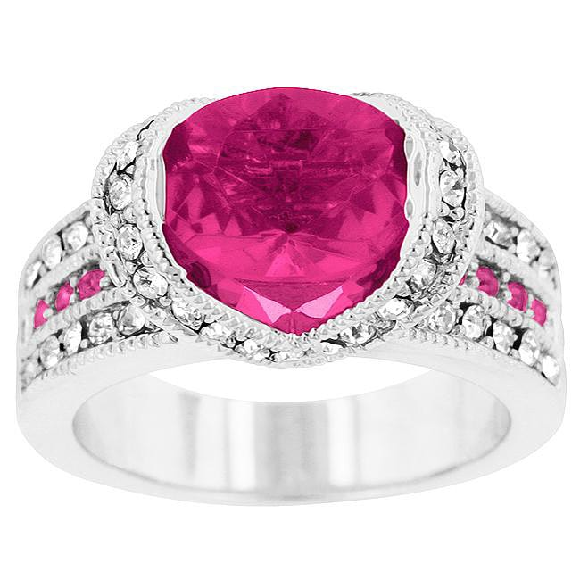 Kate Bissett Silvertone Pink and White Cubic Zirconia Cocktail Ring