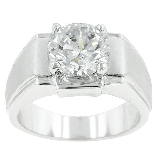 Kate Bissett Silvertone Men's Solitaire Cubic Zirconia Ring - Thumbnail 0