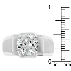 Kate Bissett Silvertone Men's Solitaire Cubic Zirconia Ring - Thumbnail 2