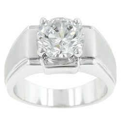 Kate Bissett Silvertone Men's Solitaire Cubic Zirconia Ring