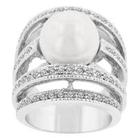 Kate Bissett Silvertone Faux Pearl and Cubic Zirconia Fashion Ring