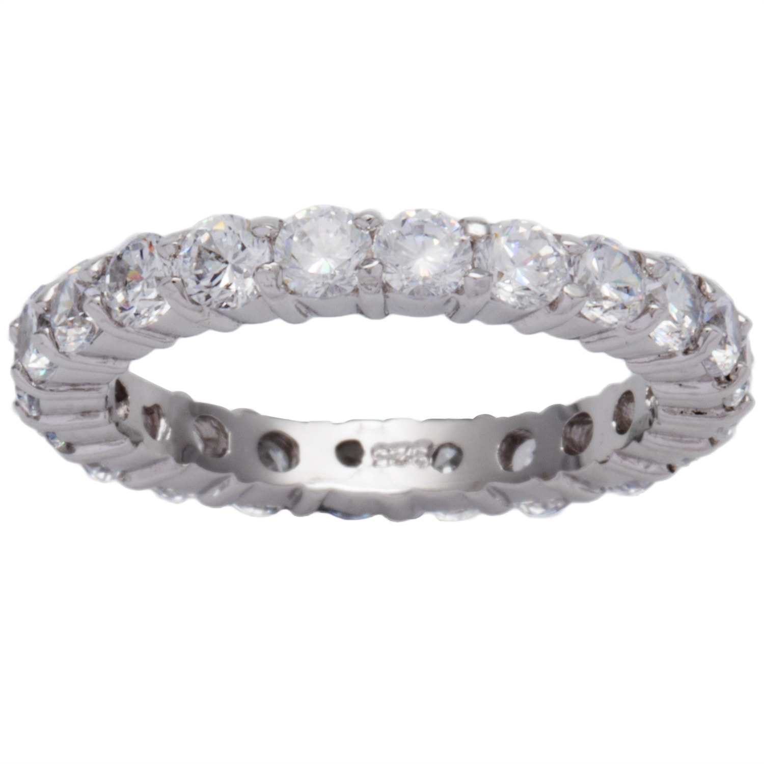 .925 Sterling Silver Stackable Clear Cubic Zirconia Eternity Promise Ring NEW