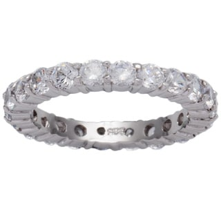 Link to Kate Bissett Sterling Silver Stackable Cubic Zirconia Eternity Band - Clear/Silver Similar Items in Rings